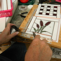 Soldering a stained glass project